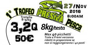 Locandina Primo Trofeo Presila Pesca - Gara trota lago