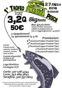 Locandina Primo Trofeo Presila Pesca - Gara trota lago Calabria